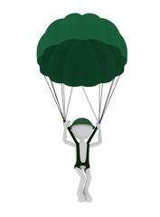 3d military parachutist person, parachuting.