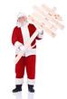Santa holding wooden sign
