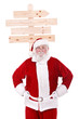 traditional Santa Claus with advertising sign