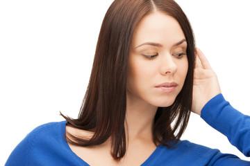 serious woman listening gossip