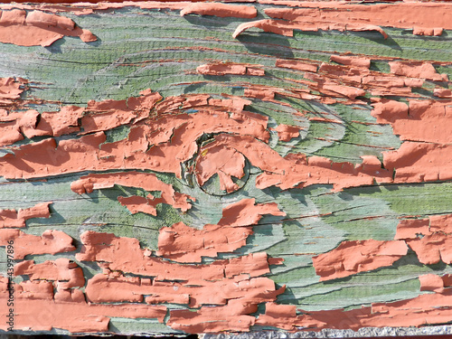 Peeling paint on wood