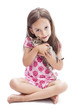 smile girl with a kitten