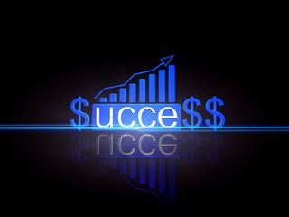 Business graph growing with success