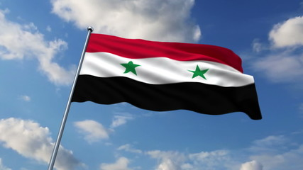Syrian flag waving against time-lapse clouds background