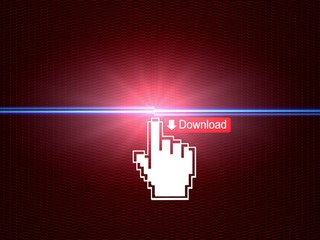Hand cursor connecting download button