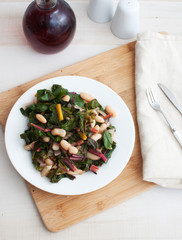 Salad with rainbow chard and beans top view