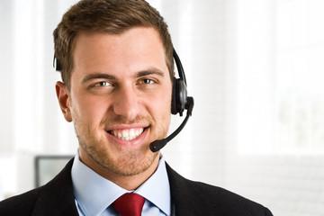 Handsome man wearing headset