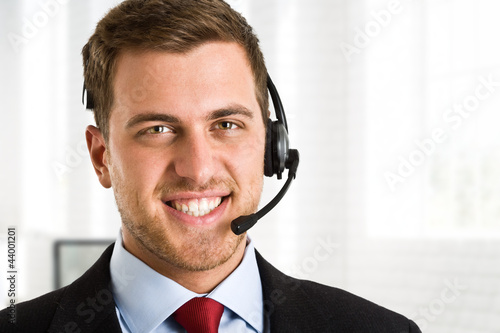 Handsome man wearing headset