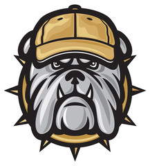 Bulldog head and baseball cap