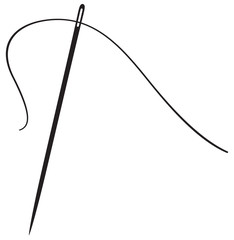 a vector illustration of a needle with thread