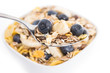 Muesli with Blueberries on a spoon