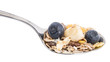 Muesli with Blueberries and Banana on a spoon