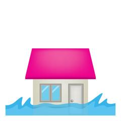 住宅 家 洪水 イラスト