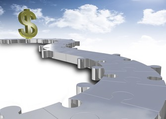 dollar with puzzle path and sky,3d