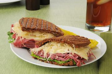 Reuben sandwich on dark rye