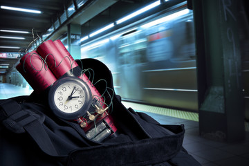 time bomb inside a backpack in a subway station