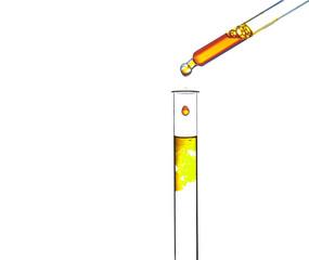 Gelbe Flüssigkeit tropft in ein Reagenzglas