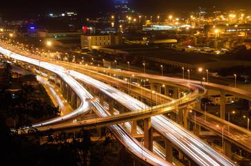 Overpass bridge and pier in night