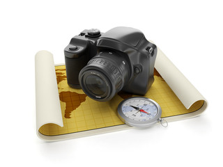 3d illustration: Travel and leisure tourism. The camera and a ma