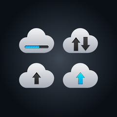 Cloud computing concept vector illustration with arrows