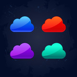 colourful cloud computing concept icons vector illustration