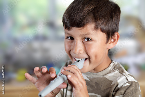 Young boy with recorder