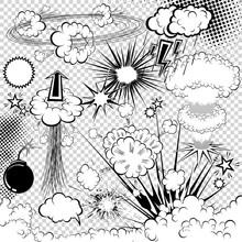 Éléments vectoriels livre d'explosion dessinées. symboles de bande dessinée