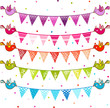 party pennant bunting. Flags with birds.