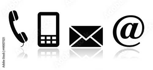 Contact black icons set - mobile, phone, email, envelope - 44007021