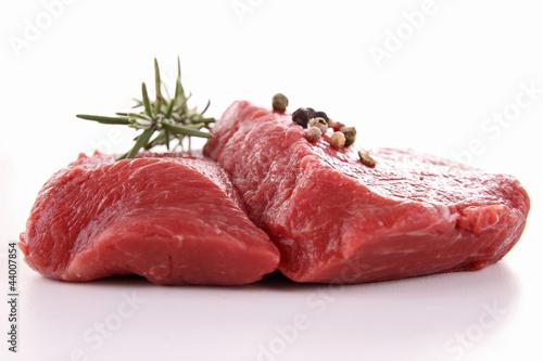 isolated raw beefsteak