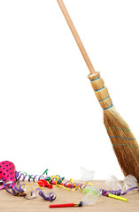Broom sweep the trash after a party on white background