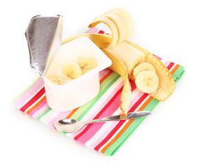 yogurt with banana isolated on white