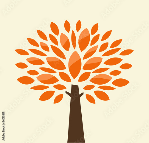 Stylized autumn tree. Vector