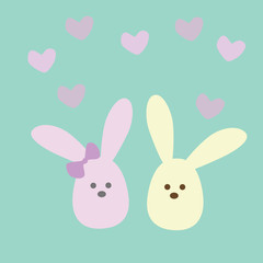 Bunny Love on the blue background