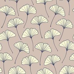 Seamless beige ginkgo pattern. Vector