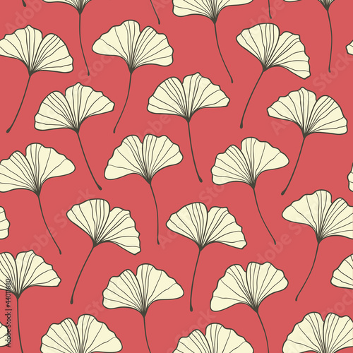Seamless red ginkgo pattern. Vector illustration © magnia