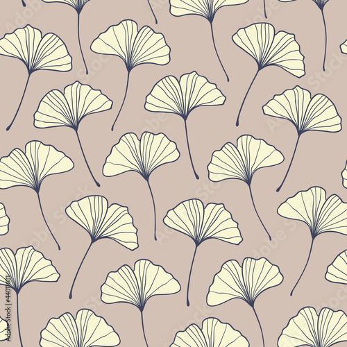 Seamless beige ginkgo pattern. Vector © magnia