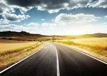 asfaltweg in Toscane, Italië