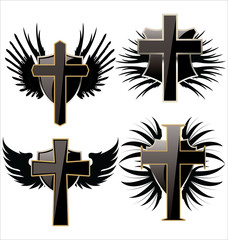 Cross on Black shield with wings set