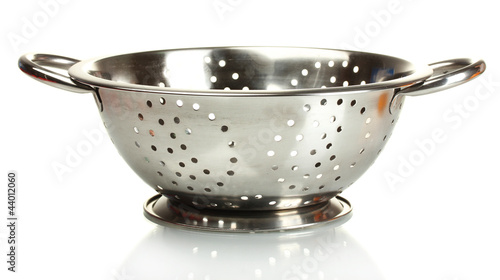 empty silver colander isolated on white