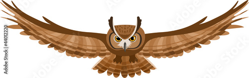 Vector illustration of brown flying owl
