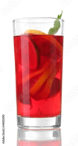 sangria in glass, isolated on white