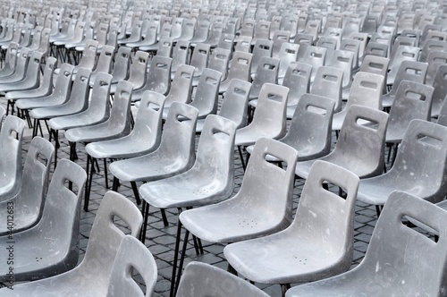 many gray chairs