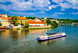 The View on summer Prague above River Vltava