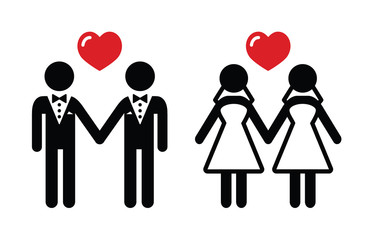 Gay marriage icons set