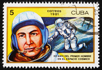Postage stamp Cuba 1981 Aleksei A. Leonov, 1st Man to Walk in Sp