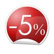 Pegatina roja con -5% con reborde
