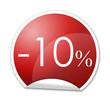 Pegatina roja con -10% con reborde