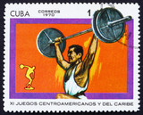 Postage stamp Cuba 1970 Weightlifting