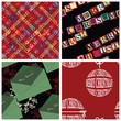 Four seamless Christmas wrapper patterns